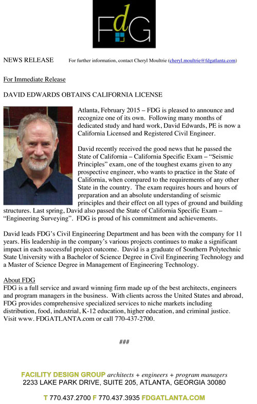 David Edwards Obtains California License